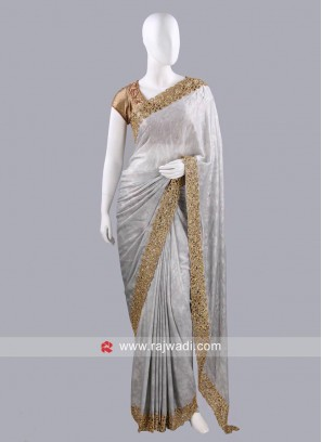 Grey Sari with Golden Border