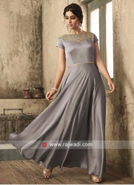 Grey Satin Gown