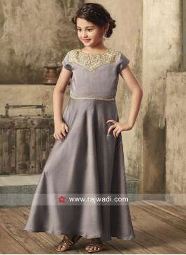 Grey Satin Gown for Kids