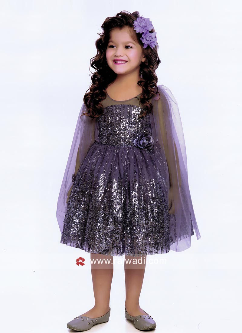 Grey Satin Net Short Gown for Girls