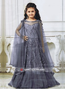 Grey Satin Net Wedding Gown for Kids