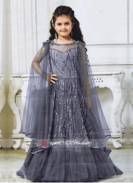 Grey Satin Net Wedding Gown for Kids