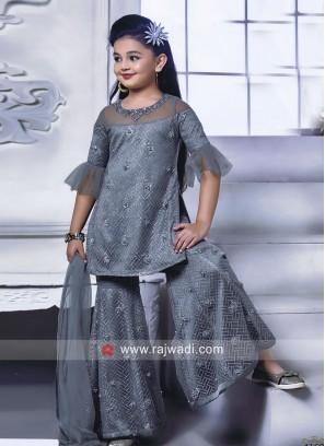 Grey Satin Silk Kids Palazzo Suit for Eid