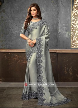 Grey Satin Silk Saree with Cut Work Border
