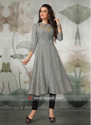 Grey Semi Anarkali Silk Kurti