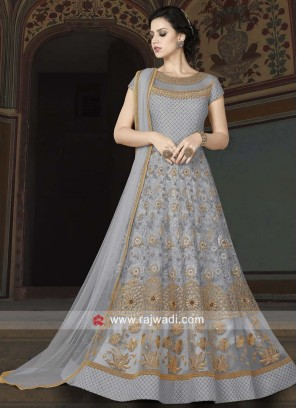 Grey Semi Stitched Salwar Kameez