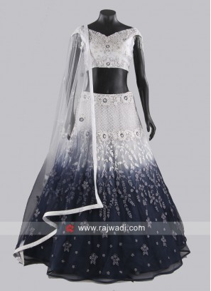 Grey Shaded Heavy Lehenga Set with Dupatta