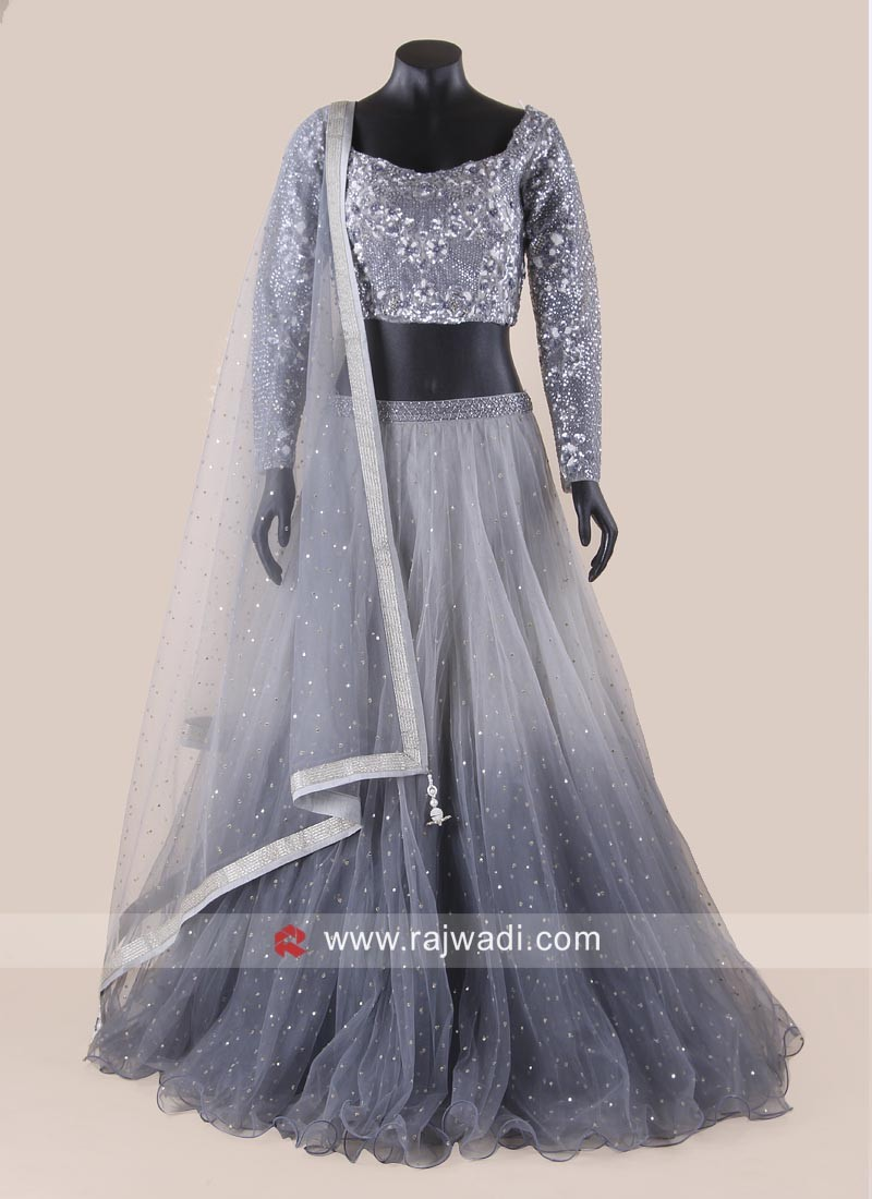 Grey Shaded Wedding Reception Lehenga