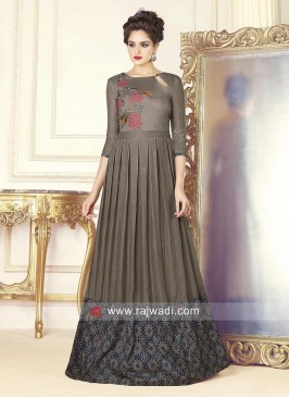 Grey Silk Pleated Full Gown