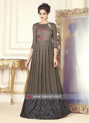 Grey Silk Pleated Full Gown