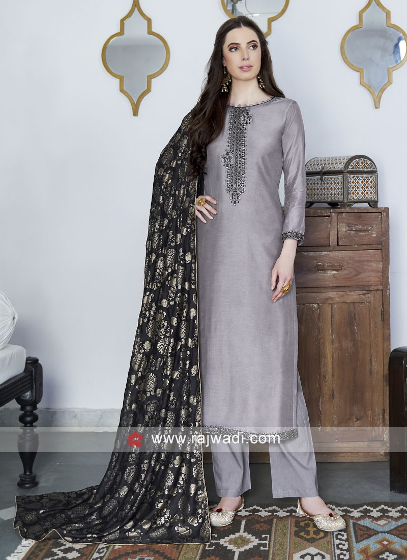 Grey Silk Salwar Suit