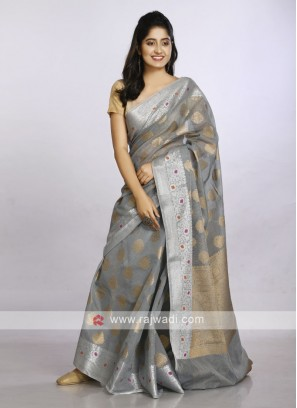Grey soft cotton saree