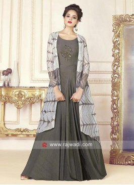 Grey Stitched Gown with Layered Jacket