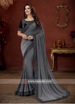 Grey Stone Work Art Satin Silk Saree