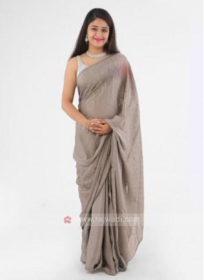 Grey Stone Work Chiffon Silk saree