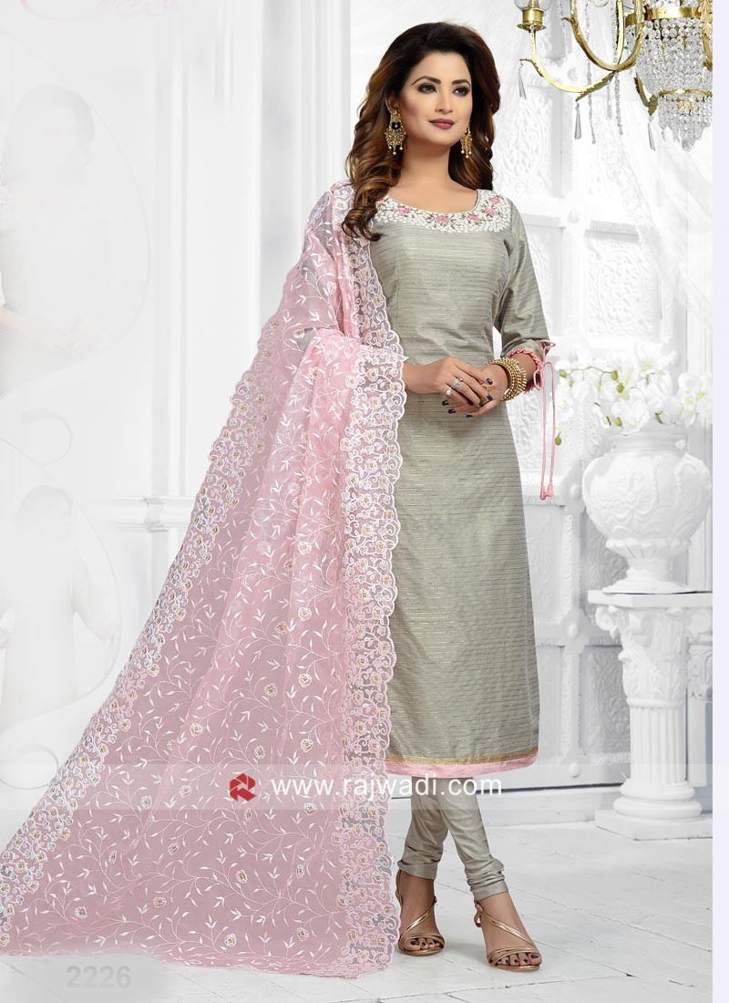 Grey Straight Fit Salwar Suit with Pink dupatta