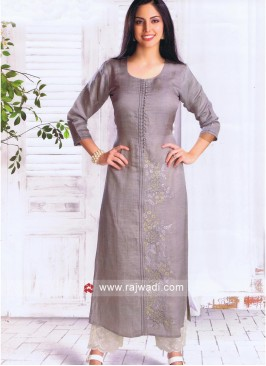 Grey Straight Fit Stitched Kurti