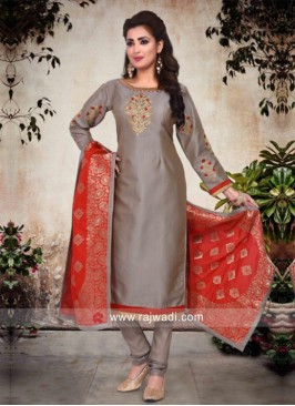 Grey Suit with Red Dupatta
