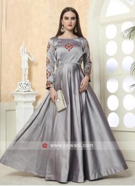 Grey Taffeta Silk Eid Special Gown