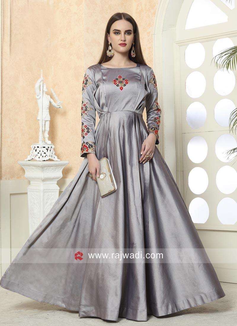 Grey Taffeta Silk Gown