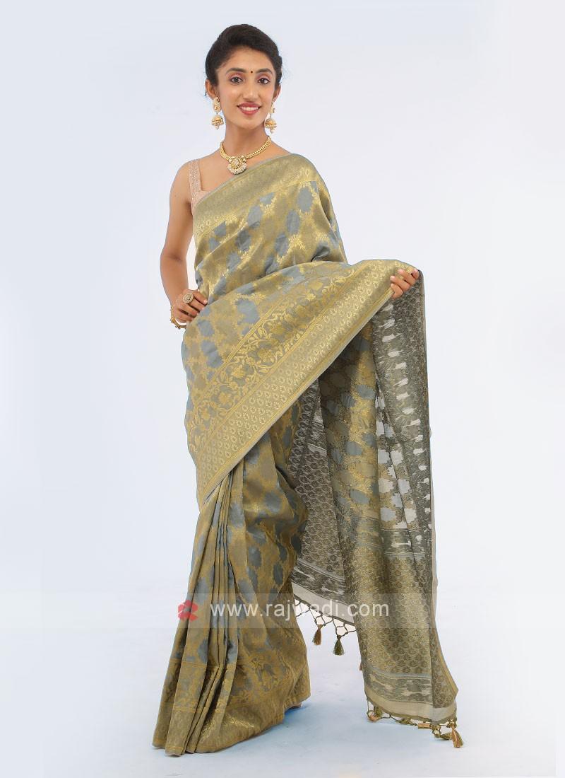 Grey Weaving Saree