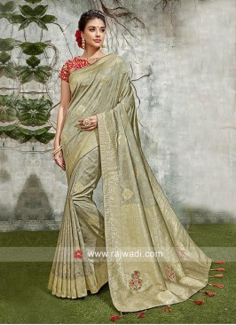 Grey Weaving Saree for Wedding