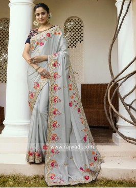 Grey Wedding Sari with Navy Blouse Piece