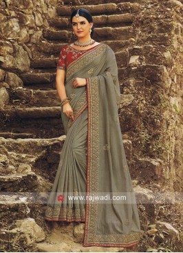 Grey Wedding Sari with Red Blouse