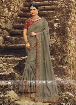 Grey Wedding Sari with Red Blouse