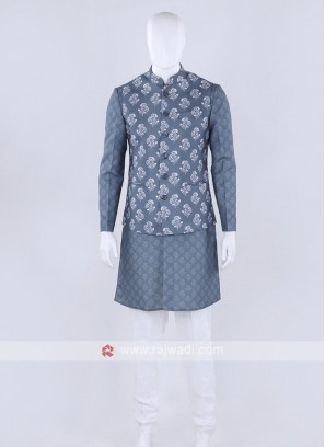 Grey & white color Nehru jacket