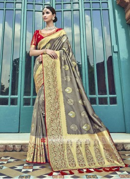 Grey Woven Saree with Red Blouse