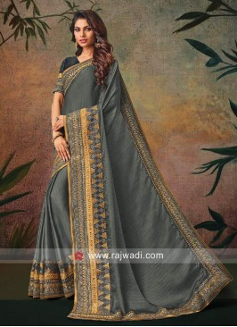 Grey Zari Work Sari