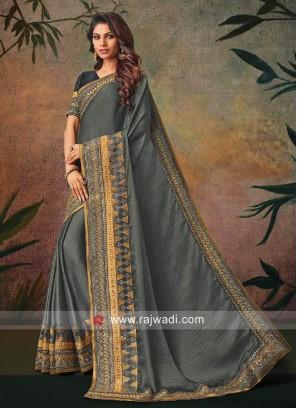 Grey Zari Work Sari