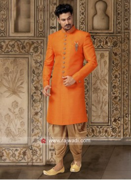 Plain Orange Color Indo Western