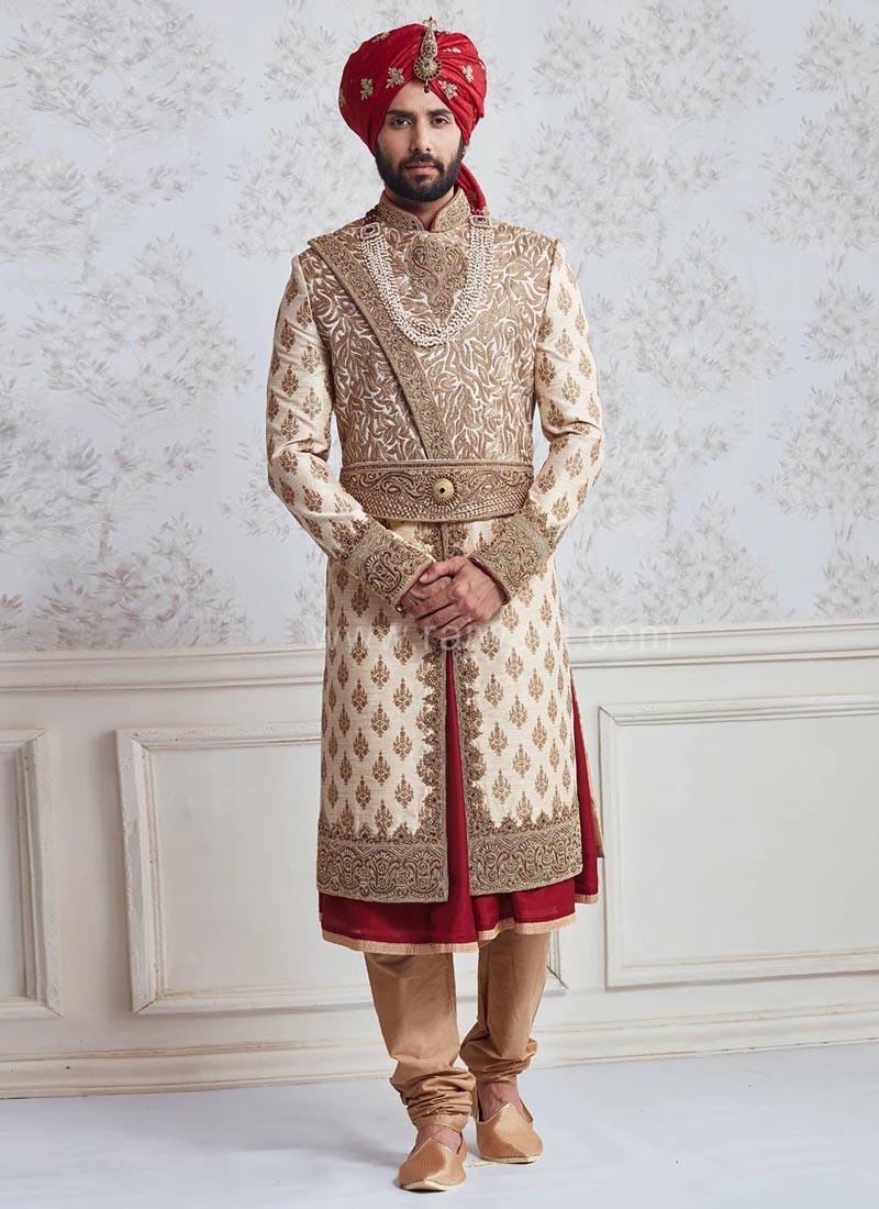 Groom Raw Silk Anarkali Sherwani