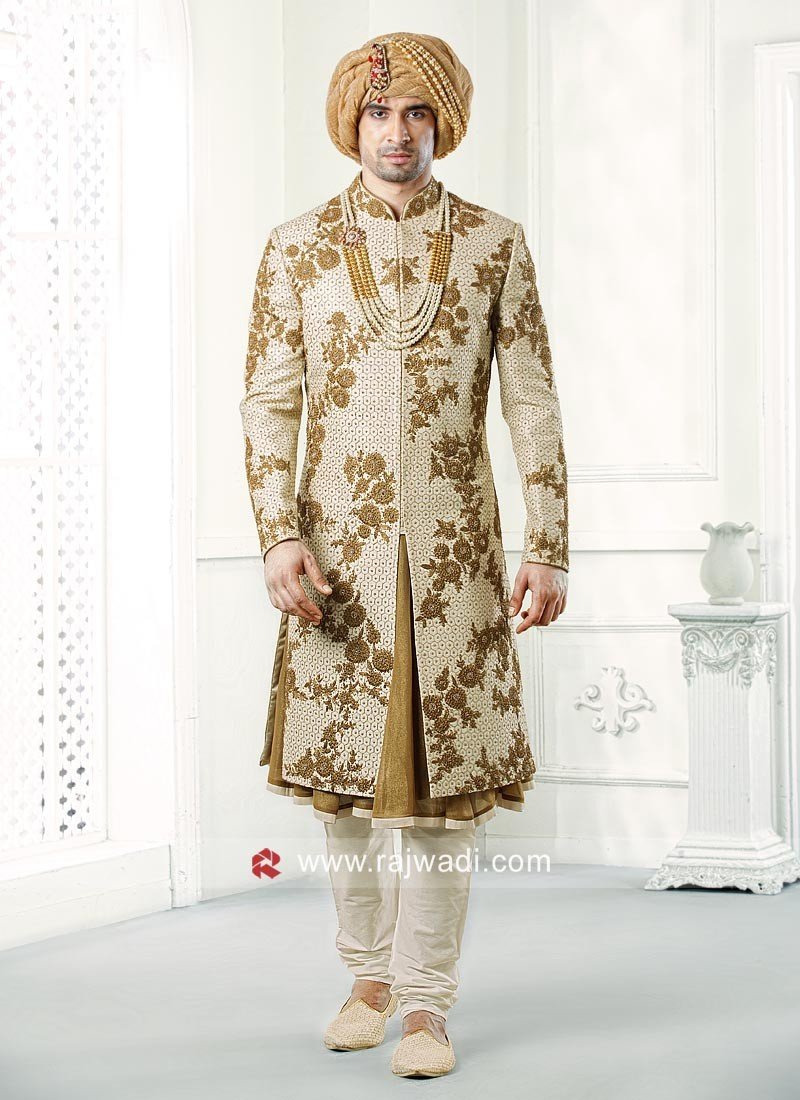 Groom Beige Color Sherwani