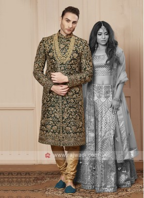 Groom bottle green colour sherwani