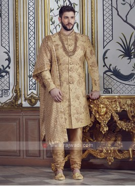 Groom Brocade Silk Golden Sherwani