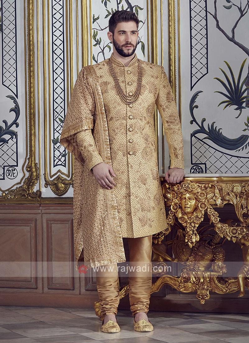 Groom Brocade Silk Golden Sherwani