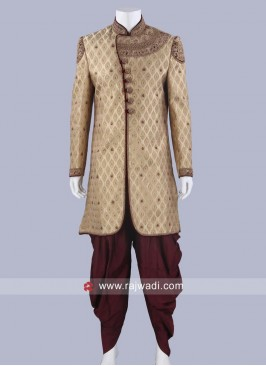 Groom Brocade Silk Indo Western Sherwani