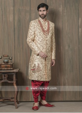 Groom Cream Color Sherwani