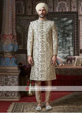 Groom Cream Color Sherwani