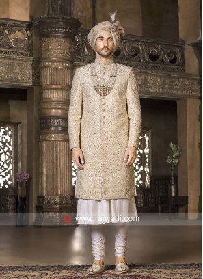 Groom Cream Sherwani