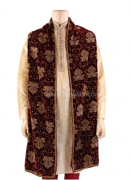 Groom Dupatta with Lace Border