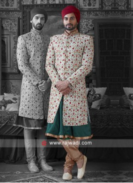Groom Flower Work Sherwani