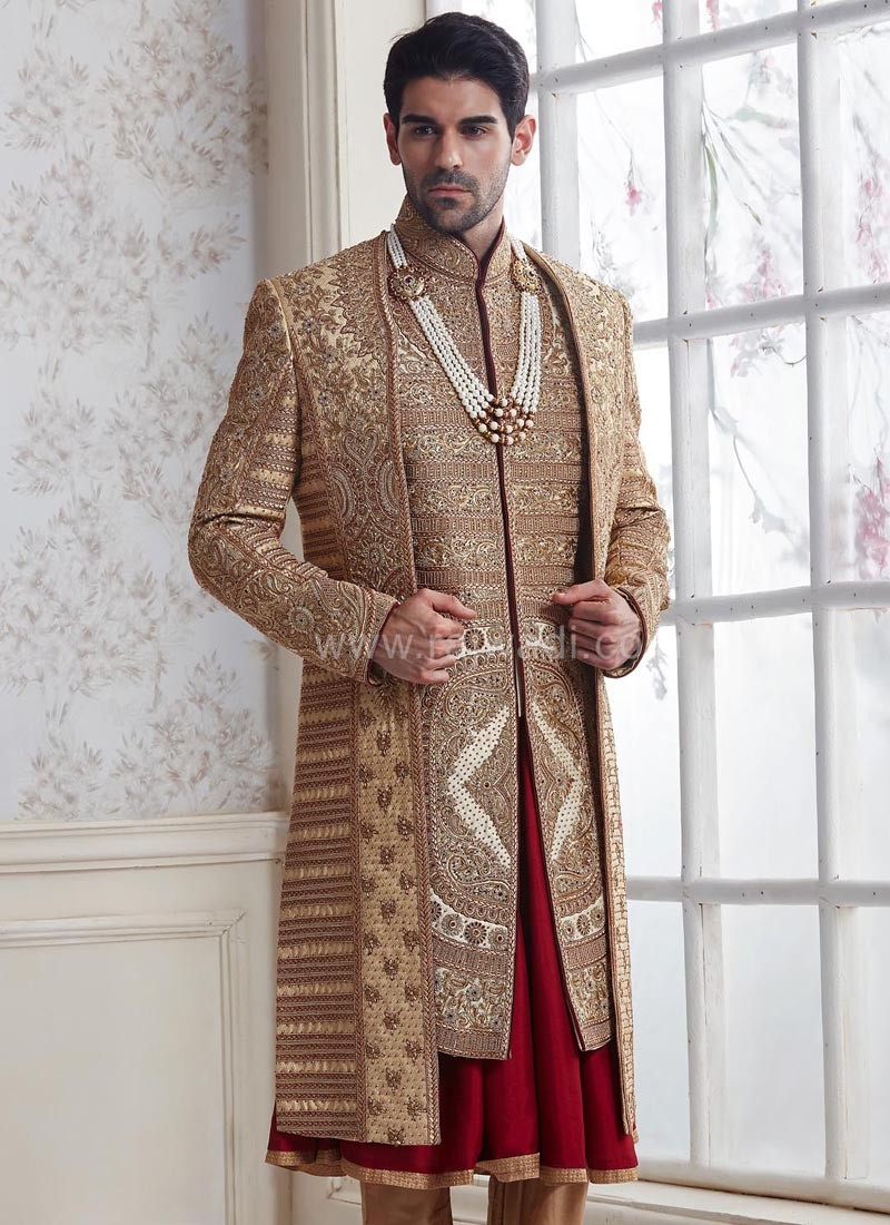 Groom Golden and Maroon Sherwani
