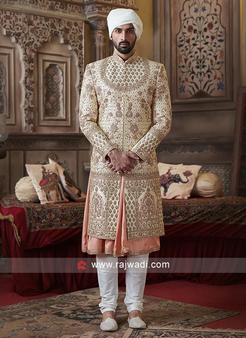 Groom Golden Color Sherwani
