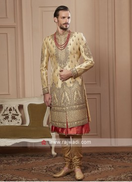 groom golden cream colour sherwani