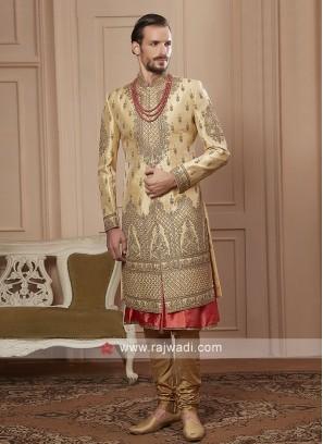 groom golden cream colour sherwani