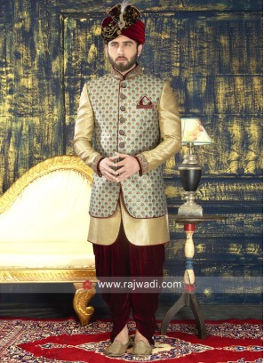 Groom Green and Golden Color Indo Western